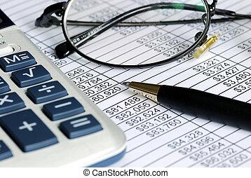 auditoría, mencionado, hoja de cálculo, números