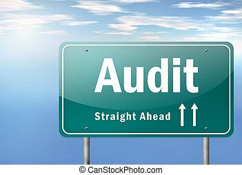 auditoría, poste indicador, carretera