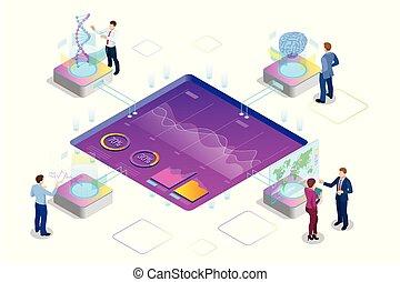 auditoría, red, dirección, inteligencia, analytics, estadística, digital, isométrico, planificación, interactuar, análisis, grande, demographics, avanzado, visualización, adn, estructura, investigación, artificial, datos