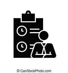 Auditor black icon, concept illustration, vector flat symbol, glyph sign.
