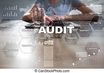 auditor., concept., empresa / negocio, compliance., virtual, auditoría, technology., pantalla