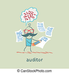 Auditor writes on a piece of paper and think about the formulas
