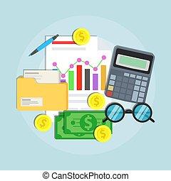 auditoria, apartamento, conceito, financeiro, ilustração negócio, planificação, vetorial, contabilidade, gerência, design.