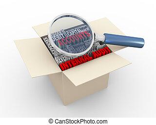 auditoria, caixa, wordcloud, interno, magnifier, 3d