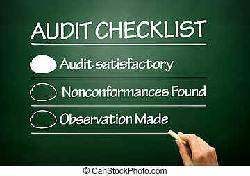 auditoria, conceito, lista de verificação, negócio, quadro-negro, mão, desenhado