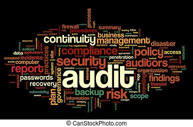 auditoria, conformidade, palavra, nuvem, tag
