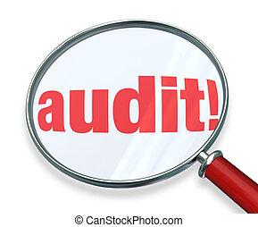 auditoria, contabilidade, palavra, regras, imposto, vidro,...