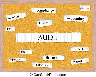 auditoria, corkboard, conceito, palavra