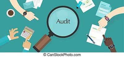 auditoria, financeiro, negócio, processo, companhia,...