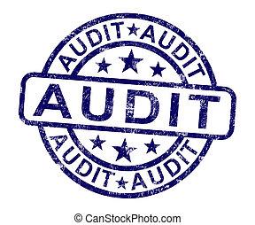 auditoria, financeiro, selo, exame, contabilidade, mostra