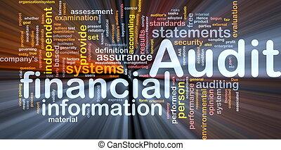 auditoria, glowing, conceito, financeiro, fundo
