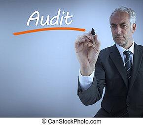 auditoria, homem negócios, palavra, escrita