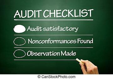 auditoria, negócio, quadro-negro, lista de verificação, mão, desenhado, conceito