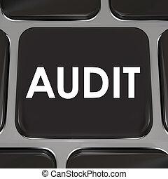 auditoria, revisão, imposto, tecla computador, teclado,...