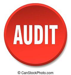 auditoria, vermelho, redondo, apartamento, isolado, empurre...