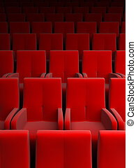 auditorio, rojo, asiento
