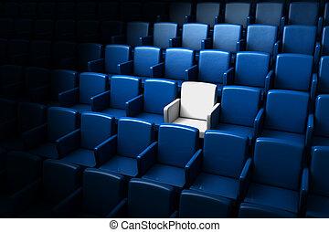 auditorio, uno, reservado, asiento