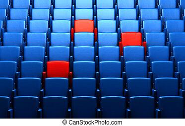 auditorium, à, réservé, sièges