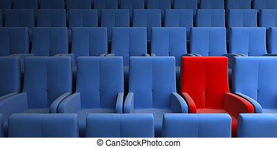 auditorium, à, une, exclusif, siège