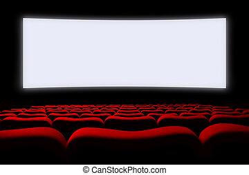 auditorium, écran, sièges, cinéma