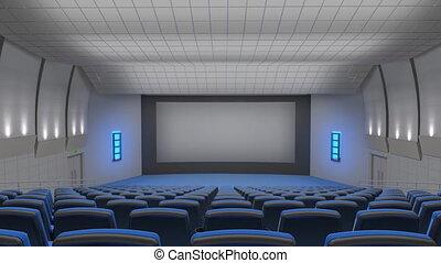 auditorium, écran, voler, cinéma