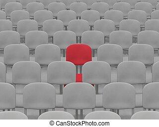 Auditorium - digital render of an empty auditorium of grey...