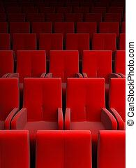 auditorium, rouges, siège