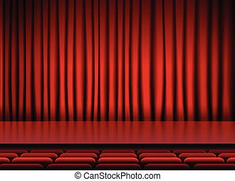 auditorium stage threater with red curtains and seats