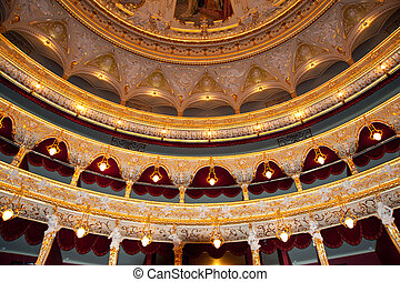 Auditorium. An interior of opera theatre. Odessa, Ukraine