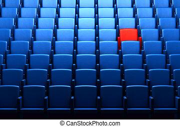 auditorium, une, réservé, siège