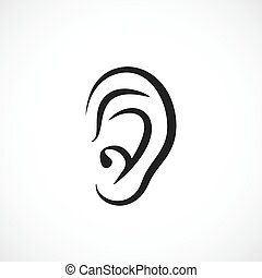 Auditory ear vector icon illustration
