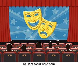 audytorium, audiencja, siedzenia, kino