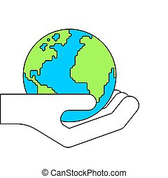auf., abbildung, planet, vektor, handfläche, erde