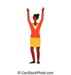 auf., amerikanische , hände, schwarz, oder, junger, angehoben, m�dchen, unternehmerin, afrikanisch, klage