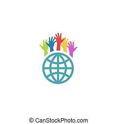 auf, bunte, mockup, erdball, hände, logo, freiwilliger, wohltätigkeit