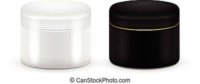 auf., container., behälter, gel., kosmetisch, vektor, color., satz, schwarz, pulver, leer, creme, weißes, oder, verhöhnen