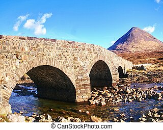 auf, der, weg, zu, schottische hochländer, springtime., altes , weinlese, steinig, brücke