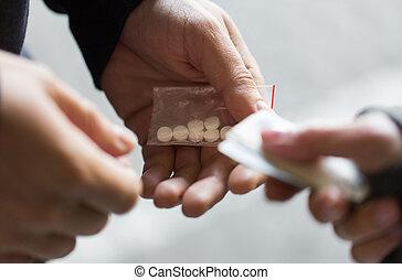 auf, droge, dosis, süchtiger, schließen, händler, kaufen