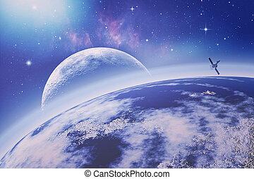 auf, erde, orbit., universe., abstrakt, wissenschaft,...