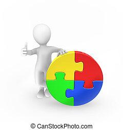 auf., gefärbt, puzzel, daumen, mann, 3d, shows