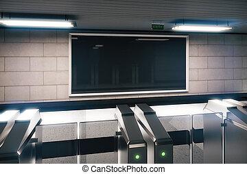 auf, metro, leerer , leer, banner, verhöhnen