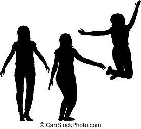 auf, silhouette, motion., mädels, drei, abbildung, junger, vektor, hände, springende