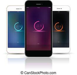 auf., smartphone, verhöhnen, vektor