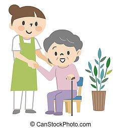 auf, stehende , ältere frau, unterstützen, caregiver