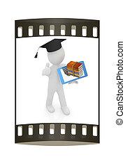 auf, tablette, grad, -, geschenk, am besten, pc, student., mann, streifen, weißes, 3d, hut, film, daumen