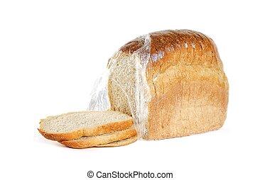 auf., weckerl, bread., freigestellt, aufgeschnitten, hintergrund, schließen, weißes