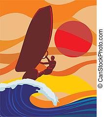auf, welle, -, windsurfing