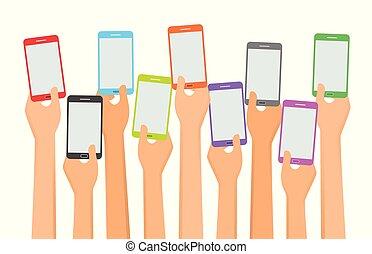 auf., wohnung, stil, smartphones, abbildung, vektor, halten hände