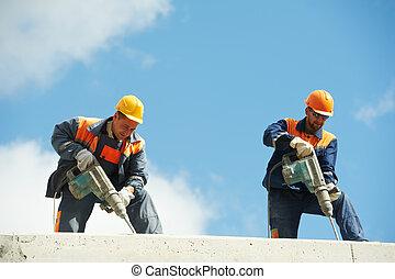 aufbau- arbeiter, mit, perforator