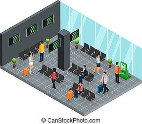 aufenthaltsraum, isometrisch, begriff, flughafen, abfahrt